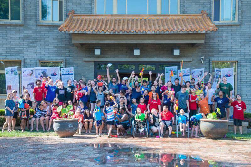 team and staff after water fight