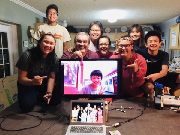 forever family meets Andrew by skype