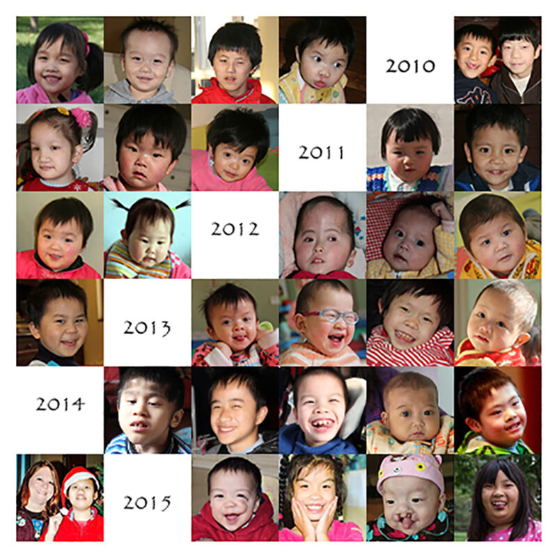 collage of faces of chinese orphans