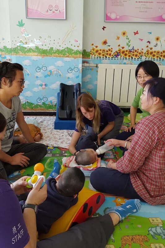 Katy teaching therapy aids about safe feeding
